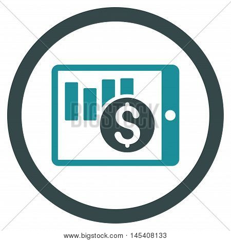 Sales Chart on Pda rounded icon. Vector illustration style is flat iconic bicolor symbol, soft blue colors, white background.