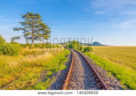 The length of the railway track, blue sky