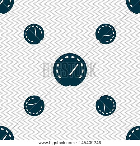 Speedometer Icon Sign. Seamless Pattern With Geometric Texture. Vector