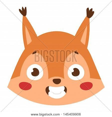 Cute animal squirrel head emotion vector avatar. Cartoon happy squirrel animal emotion expression isolated face character. Adorable mammal emojji avatar animal emotions. Animal squirrel character