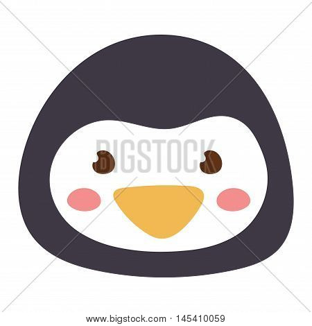 Cute animal penguin head emotion vector avatar. Cartoon happy penguin animal emotion expression isolated face character. Adorable mammal emojji avatar animal emotions. Animal penguin character