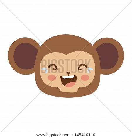 Cute animal monkey head emotion vector avatar. Cartoon happy monkey animal emotion expression isolated face character. Adorable mammal emojji avatar animal emotions. Animal monkey character