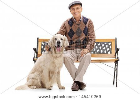 Senior sitting on a bench with his dog isolated on white background