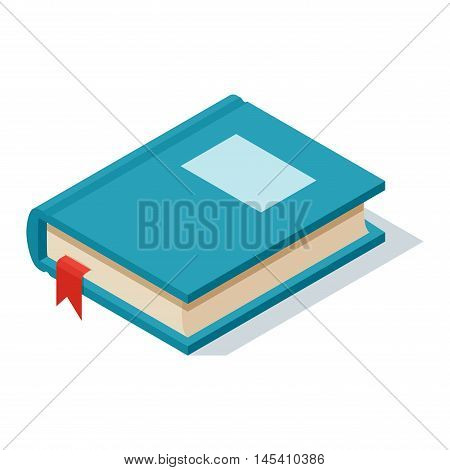 Isometric book icon vector illustration in flat design style isolated on white. Academic book learning symbol, reading school sign. Knowledge reading design isolated science university text book cover information.