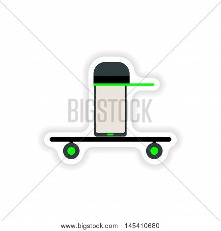 paper sticker on white background  mobile phone, vector