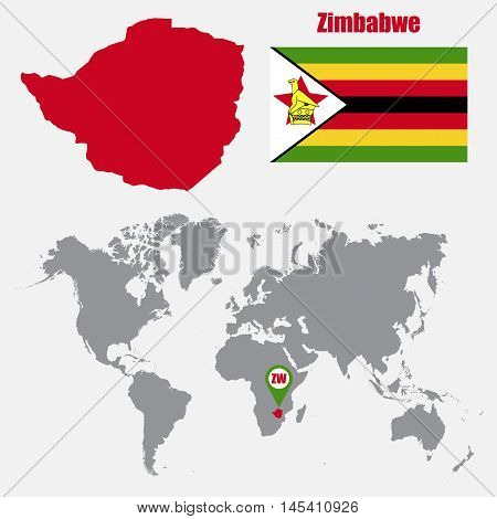 Zimbabwe map on a world map with flag and map pointer. Vector illustration