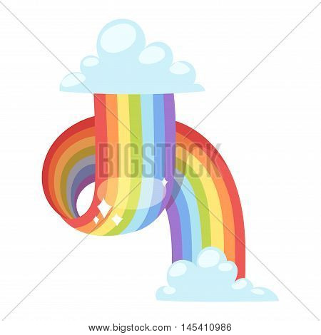 Rainbows shape realistic view on white background isolated vector illustration. Nature sign white cloud rainbow spectrum, summer graphic abstract symbol. Weather curve rainbow.