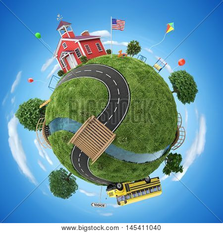 School house and school bus in back to school concept illustration -  3D illustration