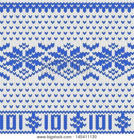Knitted dollar blue white scheme vector EPS8