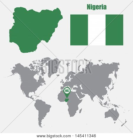 Nigeria map on a world map with flag and map pointer. Vector illustration
