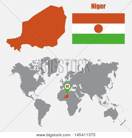 Niger map on a world map with flag and map pointer. Vector illustration