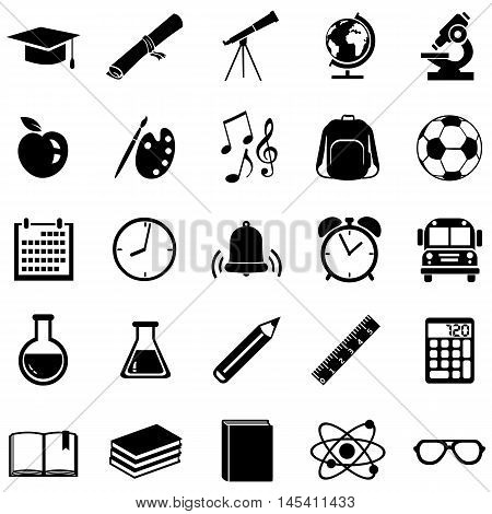 Vector Set Of 25  School Icons.