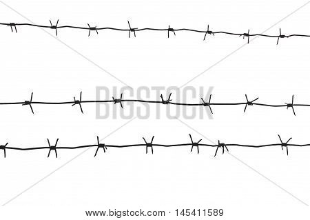 Barb wire black isolated on white backgrpound