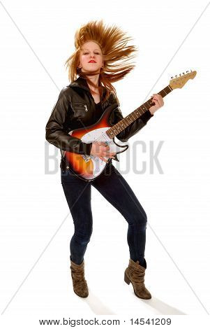 Rocker Chick With Electric Guitar