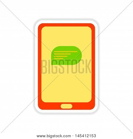 paper sticker on white  background phone message, vector