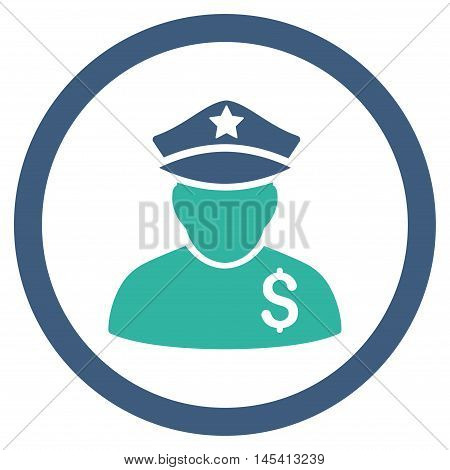 Financial Policeman rounded icon. Vector illustration style is flat iconic bicolor symbol, cobalt and cyan colors, white background.