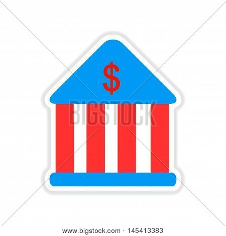 paper sticker on white  background bank building, vector