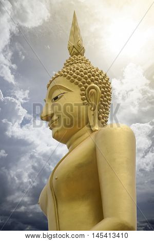 Gold Image Of Buddha With Blue Sky And Cloud In Background,  Light Effect Added , Prachuapkhirikhan,