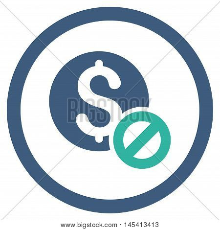Free of Charge rounded icon. Vector illustration style is flat iconic bicolor symbol, cobalt and cyan colors, white background.