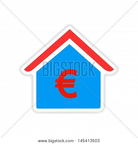 paper sticker on white  background bank building
