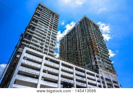 Kota Kinabalu,Sabah-Aug 30,2016:Residential condominium under construction at Kota Kinabalu,Sabah,Borneo on 30th Aug 2016.Sabah is one of the Malaysia most expensive residential property markets.