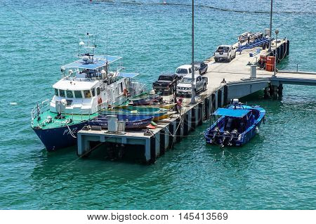 Labuan,Malaysia-Aug 30,2016:Marine Operations Force class patrol boat docked on 30th Aug 2016 at Kota Kinabalu,Sabah.Marine