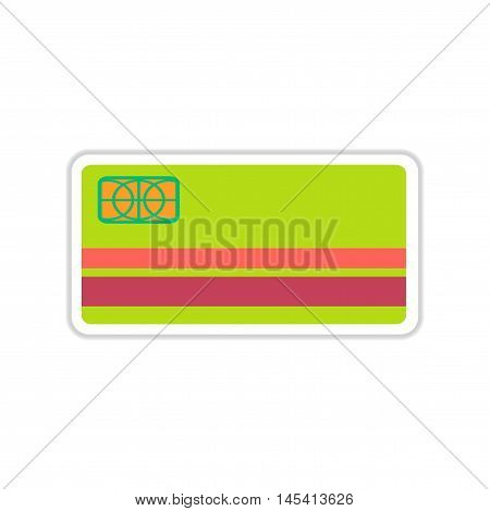 paper sticker on white  background bank card, vector