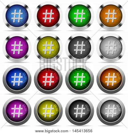 Set of hashtag glossy web buttons. Arranged layer structure.