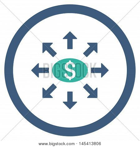 Mass Cashout rounded icon. Vector illustration style is flat iconic bicolor symbol, cobalt and cyan colors, white background.
