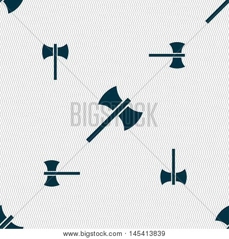 Battle Axe Icon Sign. Seamless Pattern With Geometric Texture. Vector
