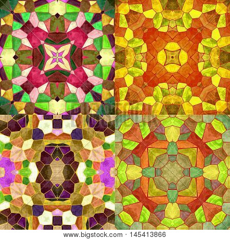 Abstract seamless kaleidoscopic background of stained glass mosaic. Set of four seamless colorful mosaic patterns in autumn colors. Red, orange, yellow, green and brown patterns