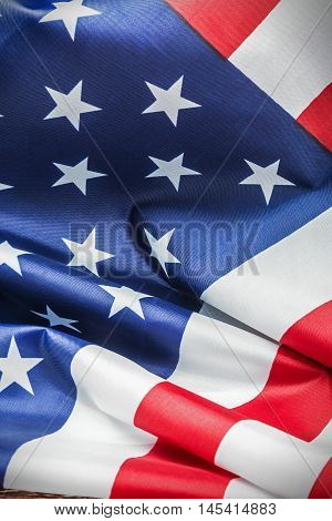 American flag Close-up background. vignetting for artistic effect