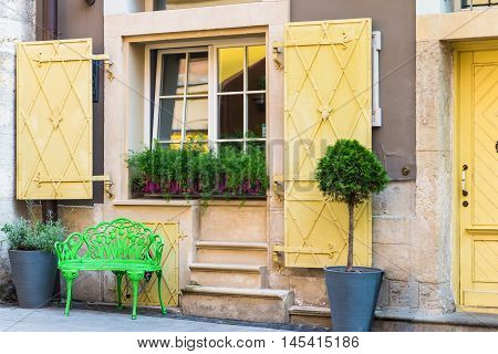 Window in old house decorated with flowerpots with green flowers and green paw