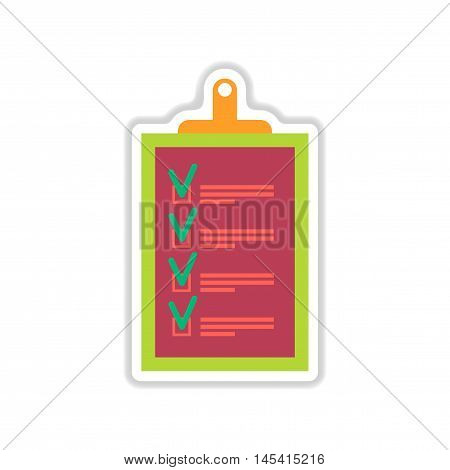 paper sticker on white  background form questionnaire, vector