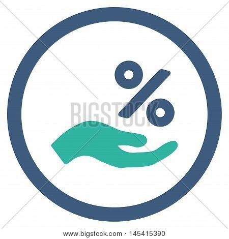 Percent Offer Hand rounded icon. Vector illustration style is flat iconic bicolor symbol, cobalt and cyan colors, white background.