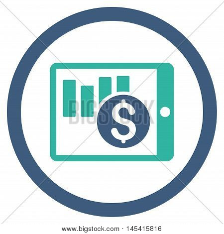 Sales Chart on Pda rounded icon. Vector illustration style is flat iconic bicolor symbol, cobalt and cyan colors, white background.