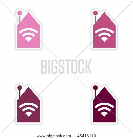 Set of paper sticker on white background   Wi-Fi router, vector