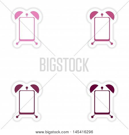 Set paper sticker on white background  Mobile Phone alarm clock, vector