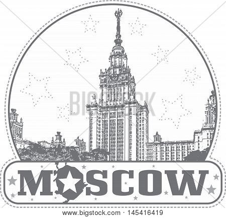 Moscow Russia - sticker with the building of the Lomonosov's Moscow University on Vorobievy Gory.