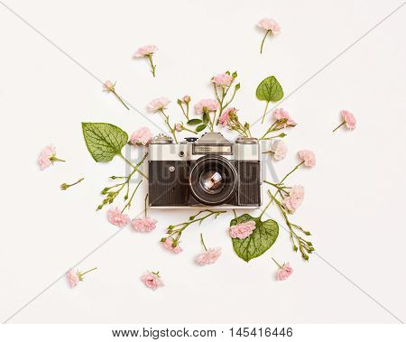 Vintage retro photo camera pink roses the fairy and Brunnera green leaves on white background. flat lay top view.