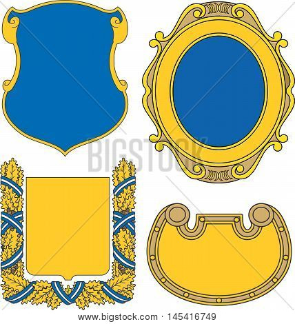 Set Of Heraldic Shields And Cartouches