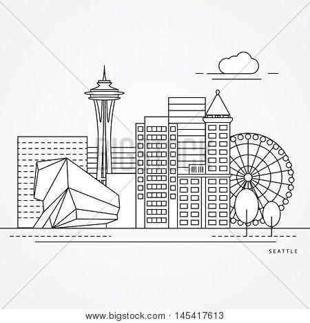 Seattle USA detailed one line minimalist icon. Trendy vector illustration, Linear landmarks.