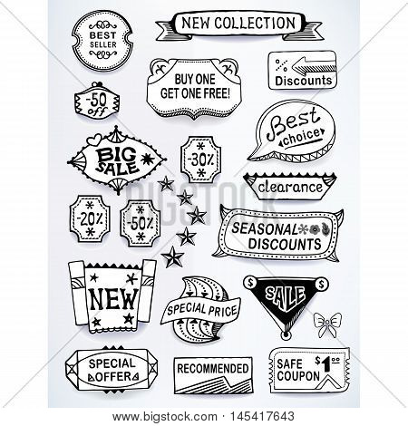 Black-white set of promotional sales english text labels signs stickers. Image contains gradients blends and gradient meshes