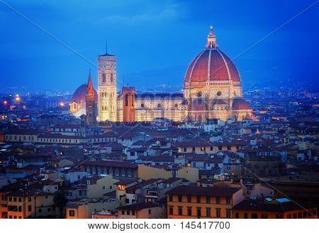 cathedral church Santa Maria del Fiore at night, Florence, Italy, retro toned