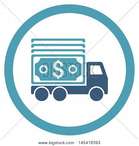 Cash Lorry rounded icon. Vector illustration style is flat iconic bicolor symbol, cyan and blue colors, white background.