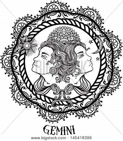 Hand drawn romantic beautiful line art of zodiac gemini. Vector illustration isolated. Ethnic design mystic horoscope symbol for your use. Ideal for tattoo art coloring book. Zentangle style.