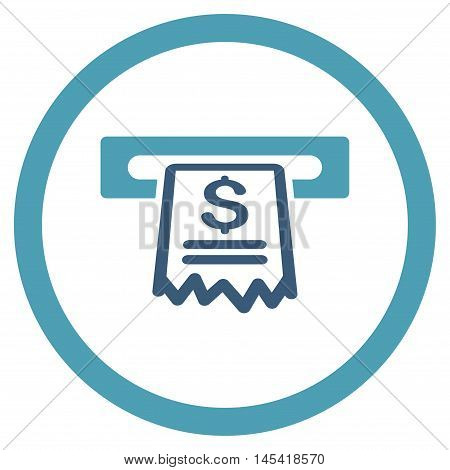Cashier Receipt rounded icon. Vector illustration style is flat iconic bicolor symbol, cyan and blue colors, white background.