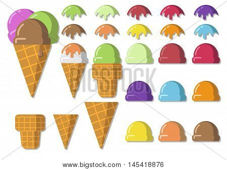 Vector Illustration Set Icecream Soft Serve Scoop, Waffle Cup, Tasty  Ice Cream Cone With Natural De