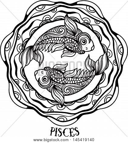 Detailed pisces in aztec filigree line art zentangle style. Tattoo coloring page for adult. T-shirt design. Zodiac pisces tribal decorative wool pattern. Vector