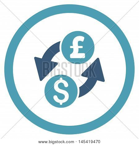 Dollar Pound Exchange rounded icon. Vector illustration style is flat iconic bicolor symbol, cyan and blue colors, white background.